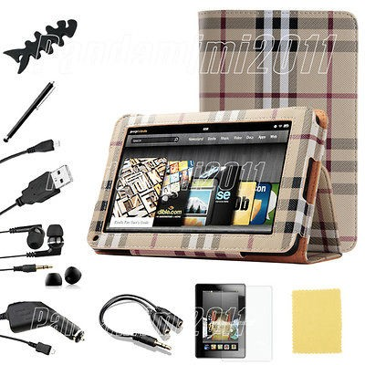 10 in 1 For Kindle Fire PU leather Folio Case Cover/Car Charger/USB