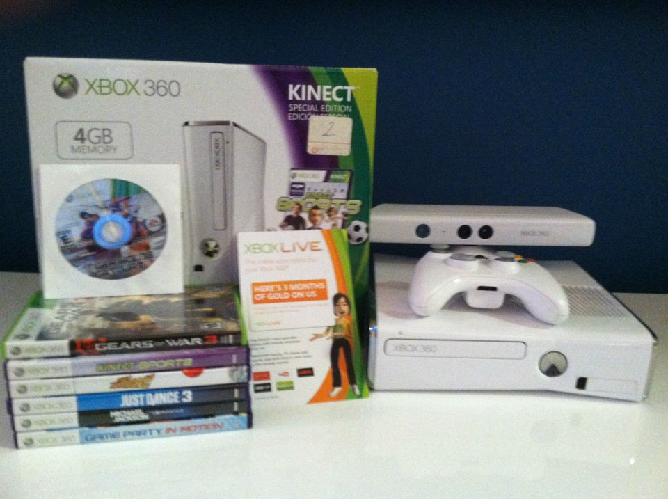 Microsoft xbox 360 special edition kinect bundle 4 gb white console - Xbox 360 console kinect bundle ...