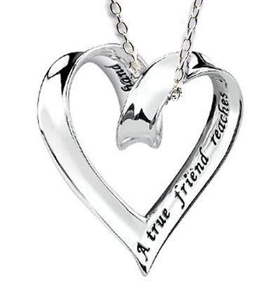 Gift Best Friend Sliding Ribbon Heart Charm Silver 925 Friendship