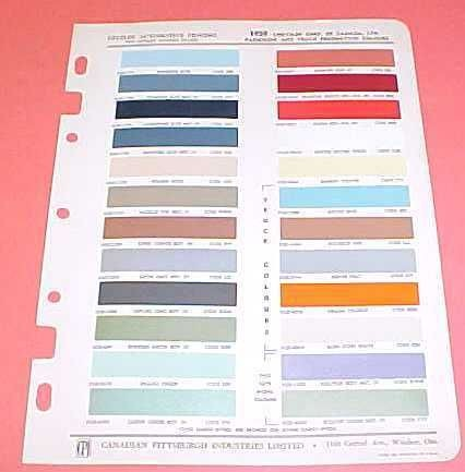 1959 CHRYSLER PAINT CHIPS COLOR CHART CANADA CAR TRUCK