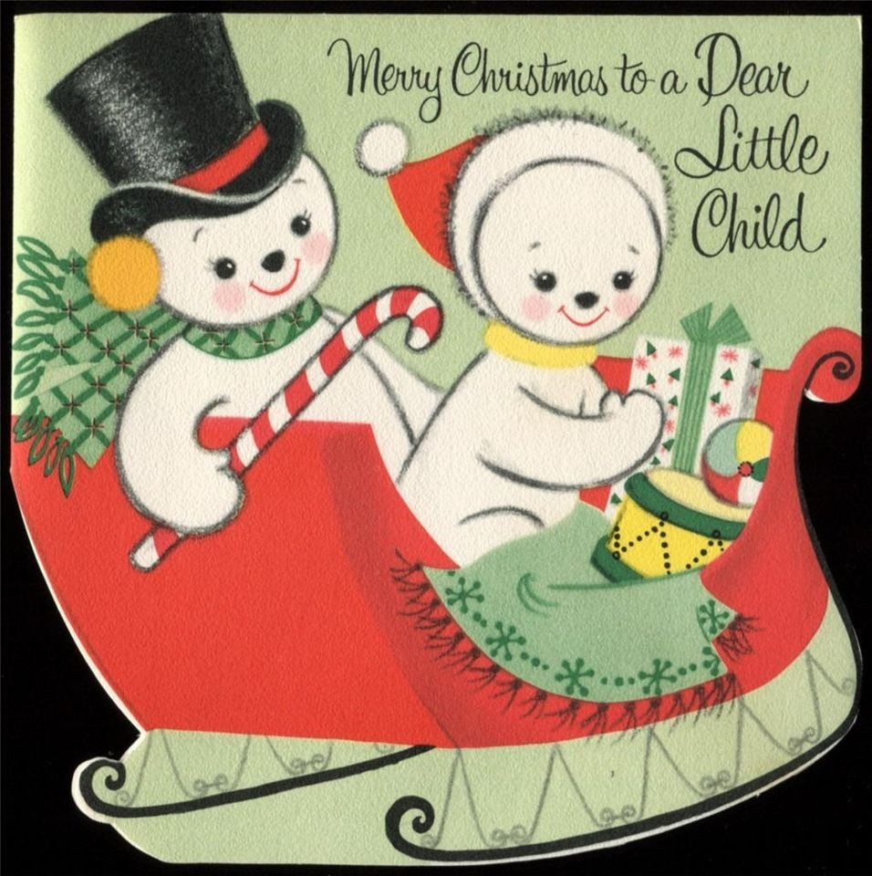 c1950 Vintage Christmas Card Boy & Girl SNOWMEN Riding in Sled UNUSED