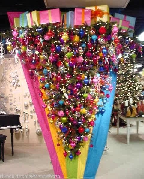 DOWN UMBRELLA ~HANGS ON WALL LED MULTI COLOR LIGHTS CHRISTMAS TREE