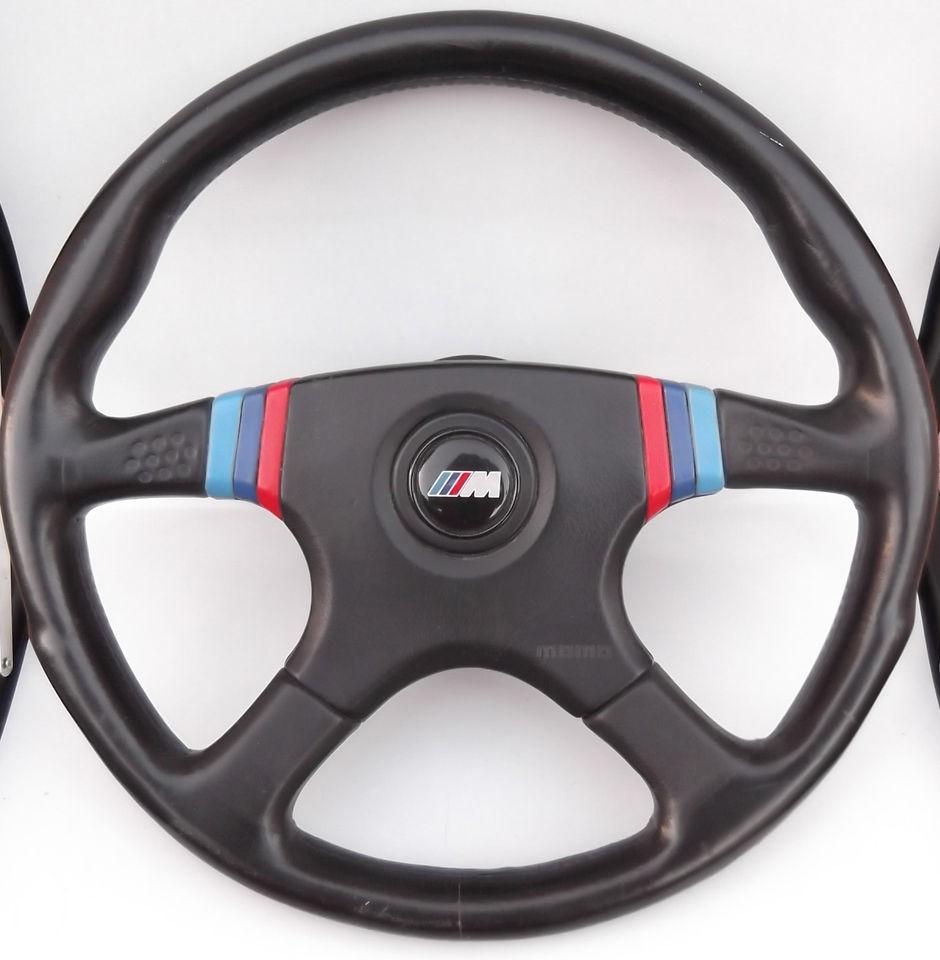BMW 1985 E24 MOMO CSI M28 BLACK LEATHER M COLORS STEERING WHEEL HORN
