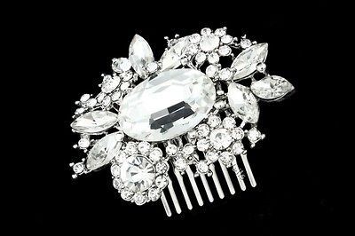 Bridal Rhinestone Crystal Pearl Flower Wedding Tiara Hair Comb 5261