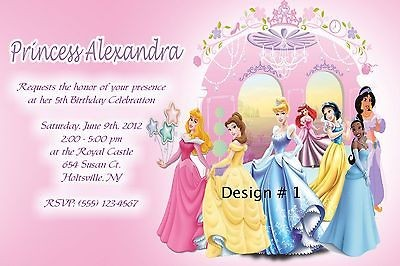 PERSONALIZED DISNEY PRINCESSES BIRTHDAY PARTY INVITATIONS