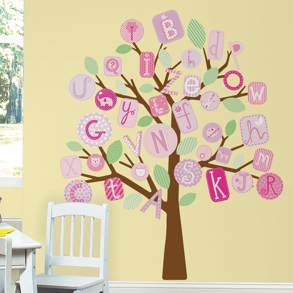 ABC ALPHABET TREE WALL DECALS MURAL Baby Girl Nursery Stickers Decor