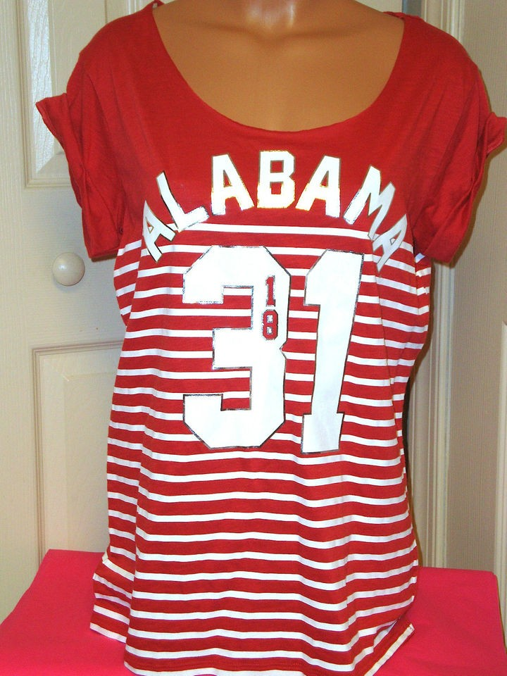 Victorias Secret PINK UNIVERSITY OF ALABAMA CRIMSON TIDE Top T Shirt