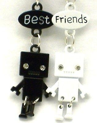 Friend Robot Charm 2 Pendant 2 Necklace Black/White BFF Friendship