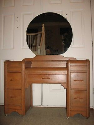 ART DECO WATERFALL VANITY DRESSING TABLE with MIRROR ~1930S~EUC