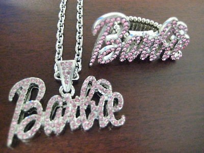 NICKI MINAJ BARBIE PENDANT NECKLACE & RING PINK SILVER