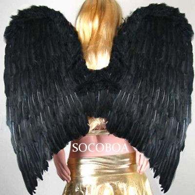 SUPER LARGE Black Feather Angel Wings Halloween Costume Gothic cosplay