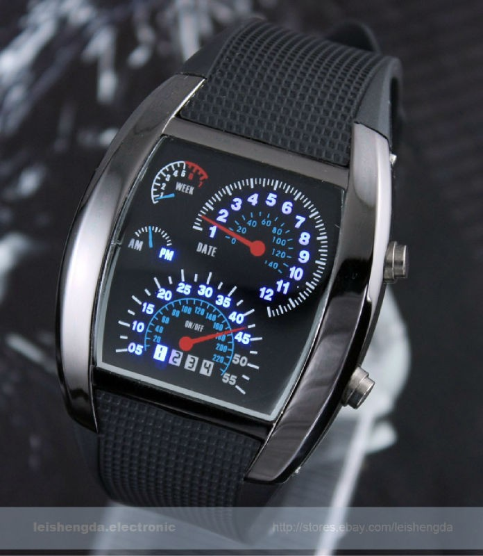 Rpm Turbo Blue White Flash Led Watch Brand New Gift Sports Car Meter