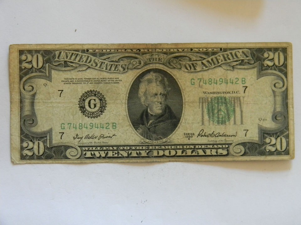 1950B Twenty Dollar Bill Federal Reserve G Series Four Of A Kind