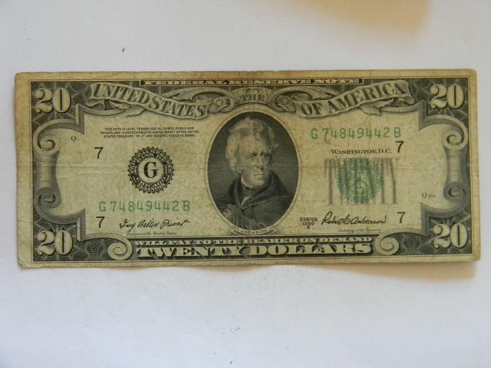 1950B Twenty Dollar Bill Federal Reserve G Series Four Of A Kind