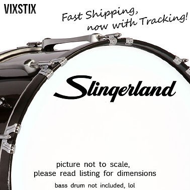 Slingerland drums 10 X 2.25 Black logo sticker decal for bass drum