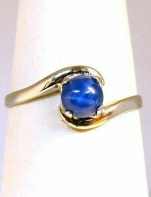 LADIES 10K WHITE GOLD BLUE STAR SAPPHIRE SOLITAIRE RING