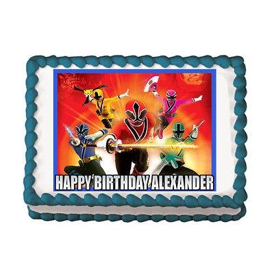 POWER RANGERS SAMURAI Edible Birthday Party Cake Image Topper