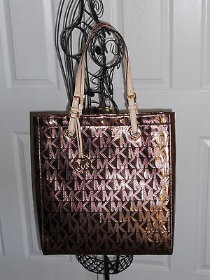 Michael Kors MK Monogram Cocoa Mirror Metallic NS Tote Jet Set Bag