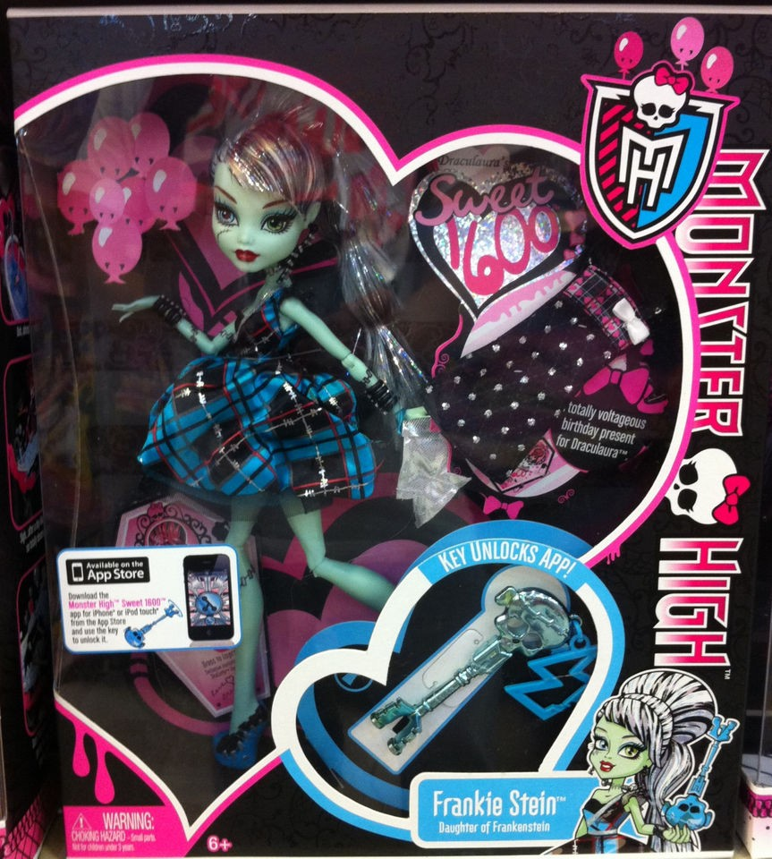 MONSTER HIGH Sweet 1600 Doll Frankie Stein NIB Key unlocks App