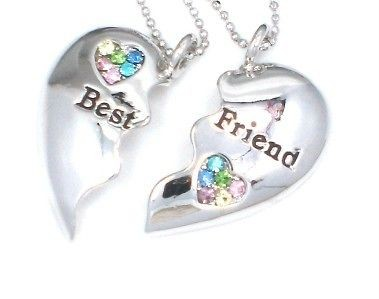 BEST FRIEND Heart Silver Tone 2 Charms & 2 Necklaces Multi New Item