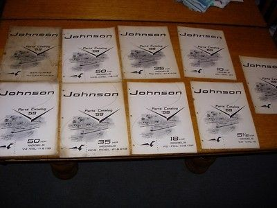 Lot of 9 Vintage 1959 Johnson Outboard Motor Parts Catalogs