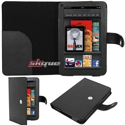 Black Folio Flip Leather Case Cover Carrying Bag For  Kindle