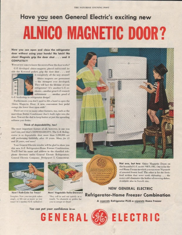 1950 VINTAGE GENERAL ELECTRIC REFRIGERATOR FREEZER EXCITING
