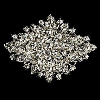 Vintage Inspired Crystal Bridal Brooch Comb Cake Brooch