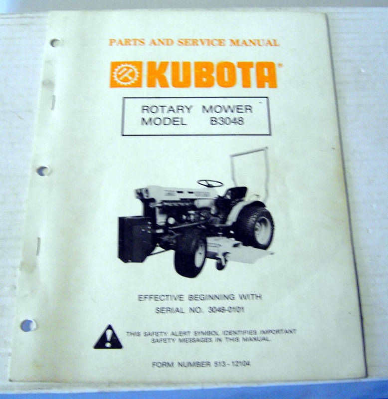 Kubota B3048 Rotary Mower Deck Service ~ Parts Manual