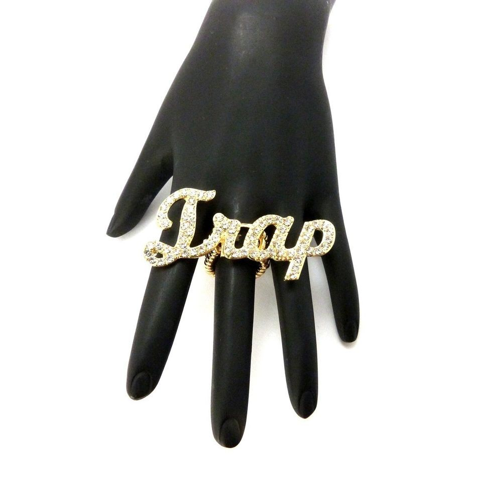 NICKI MINAJ TRAP ICED OUT ADJUSTABLE STRETCH FINGER RING BEEZ IN THE