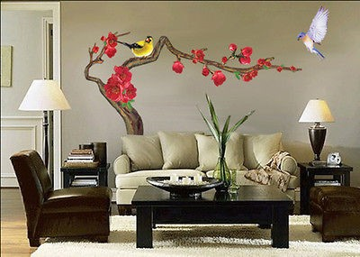 Ume Flower Tree Adhesive Removable Wall Decor Accents Stickers Decals
