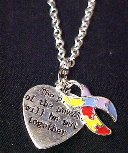 Autism Asperger Color Puzzle Pc Necklace Earring Set