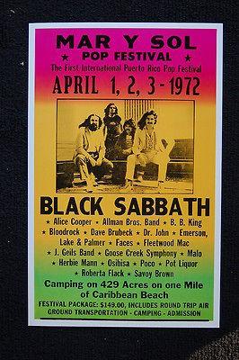 Black Sabbath 1972 Tour Poster Mar Y Sol Pop Festival