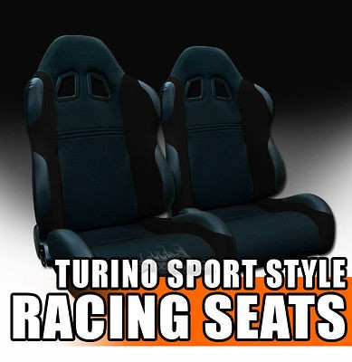 2x Universal Fit Black Fabric & PVC Leather Sport Racing Bucket Seats