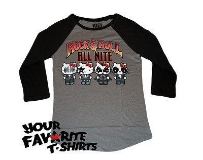 Hello Kitty Kiss Band Rock & Roll Licensed Woman Junior Raglan Shirt S