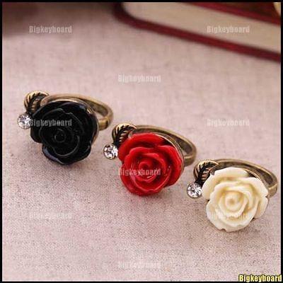Fashion Vintage Style Crystal Rhinestone Rose Flower Ring Adjustable