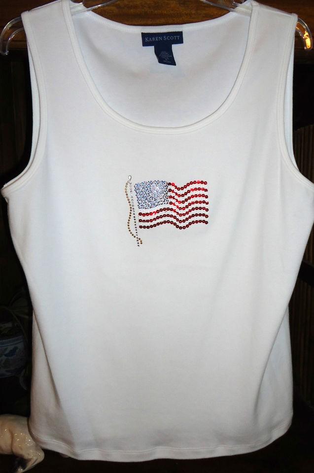 NEW Karen Scott L Bright White Tank Top American Flag Sequined Cotton
