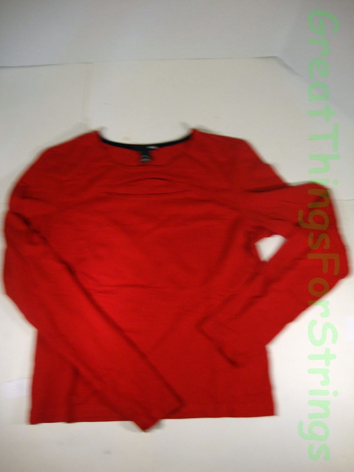 and M Red Medium Womens Shirt Top Long Sleeve Opening Clothing Rayon