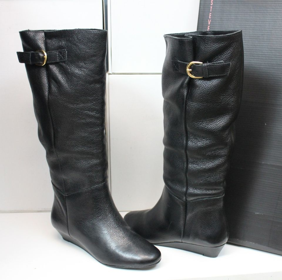 steven by steve madden intyce black leather tall boots new