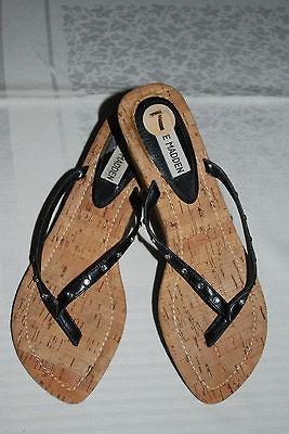 Steve Madden Black/Rhinestone Thong Sandals w Wedge Cork Heel Shoes Sz