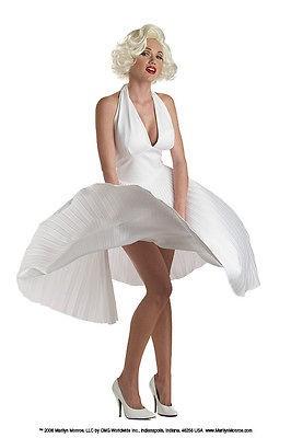 Classic MARILYN MONROE Pleated white Costume Dress S M L XL