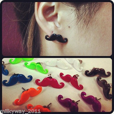 Mustache Stachetastic EARRINGS CHEATER STUD fake plug beard moustache