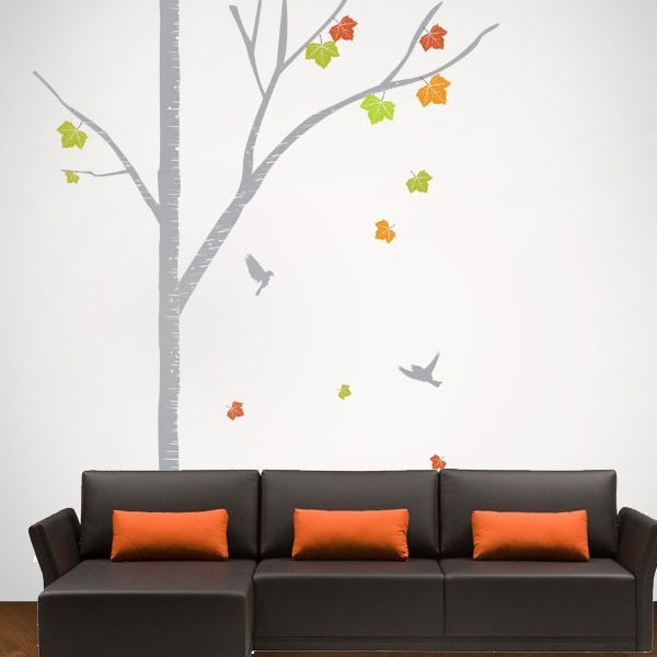 Autumn Maple Tree Adhesive Removable Wall Home Decor Accents Stickers