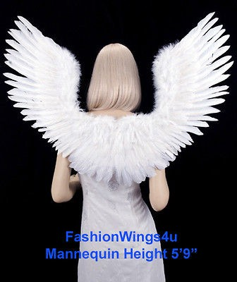 shape Open Swing White Feather Angel Wings Fairy Swan Bird Costume