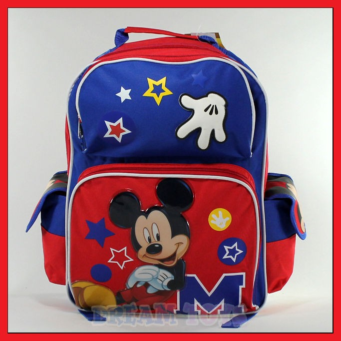 Disney Mickey Mouse Stars 16 Backpack   Book Bag School Boys