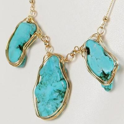 New Fashion Lady Jewelry Turquoise 12K Gold GP Antique Vintage Style