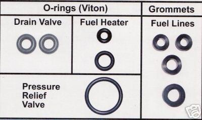 3L Powerstroke Fuel Filter / Drain Valve Seal Kit 98   03