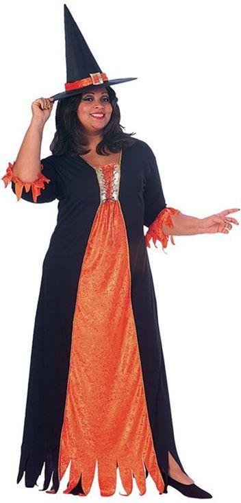 New Womens Witch Costume Hat Orange Black Long Dress Plus Size 16 20