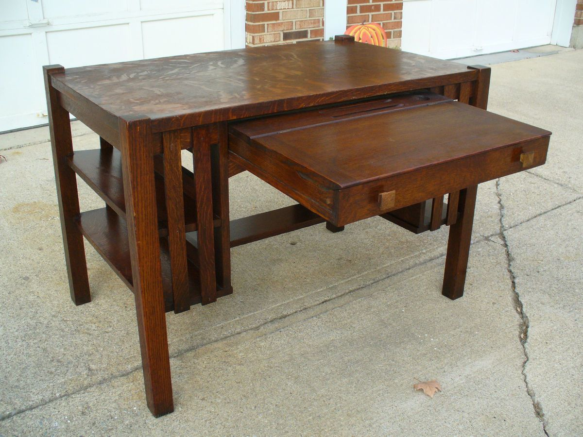 - Antique Quartersawn Mission Oak Writing Desk W/ Flip Top Drawer Ink