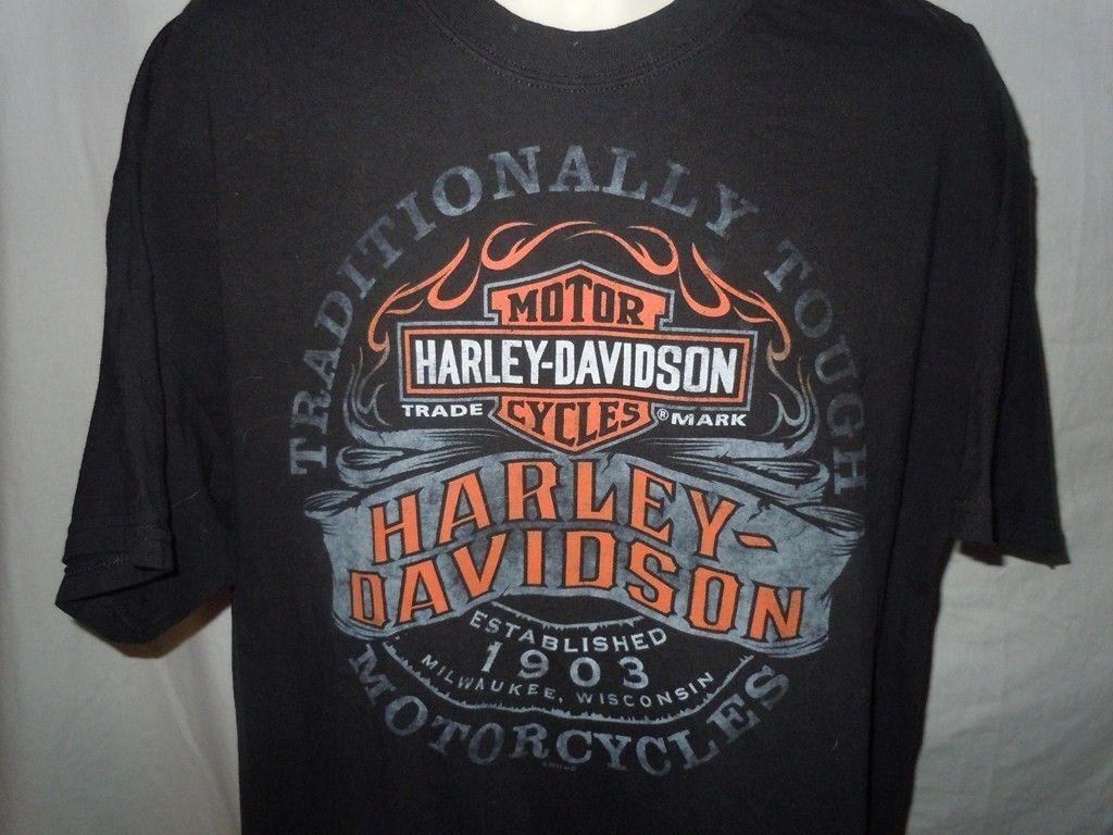Harley Davidson Motorcycles Black T Shirt Sz XL Arkport NY